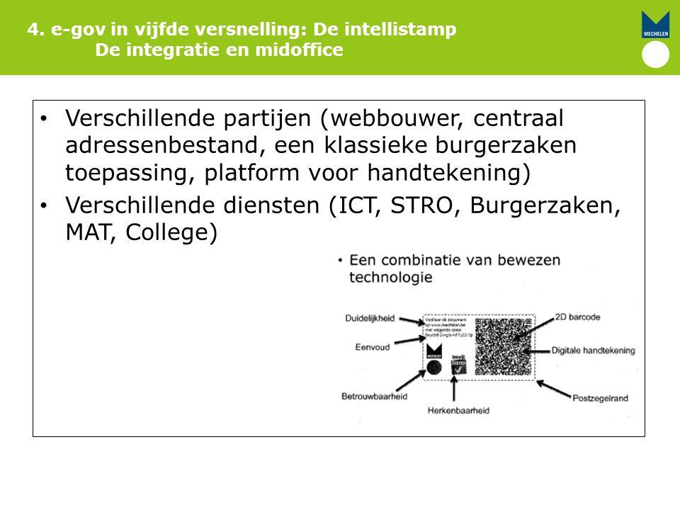 4. e-gov in vijfde versnelling: De intellistamp De integratie en midoffice Verschillende partijen (webbouwer, centraal adressenbestand, een klassieke