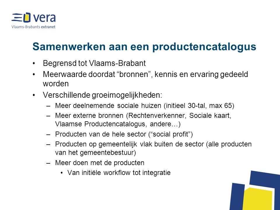 """Samenwerken aan een productencatalogus Begrensd tot Vlaams-Brabant Meerwaarde doordat """"bronnen"""", kennis en ervaring gedeeld worden Verschillende groei"""