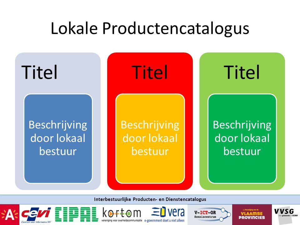 Interbestuurlijke Producten- en Dienstencatalogus Lokale Productencatalogus Titel Beschrijving door lokaal bestuur Titel Beschrijving door lokaal best