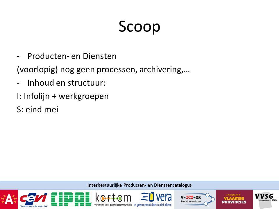 Interbestuurlijke Producten- en Dienstencatalogus Timing Eind 2009 een versie 1.0 Als Vlaamse Overheid mee wil: content gratis beschikbaar stellen in formaat  Kunnen toepassingen op gebouwd worden