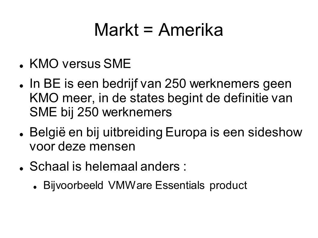 Markt = Amerika KMO versus SME In BE is een bedrijf van 250 werknemers geen KMO meer, in de states begint de definitie van SME bij 250 werknemers België en bij uitbreiding Europa is een sideshow voor deze mensen Schaal is helemaal anders : Bijvoorbeeld VMWare Essentials product