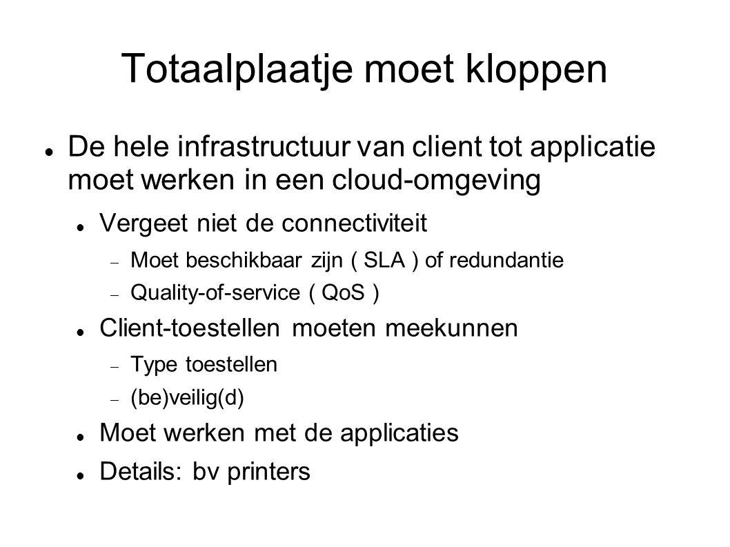 Totaalplaatje moet kloppen De hele infrastructuur van client tot applicatie moet werken in een cloud-omgeving Vergeet niet de connectiviteit  Moet beschikbaar zijn ( SLA ) of redundantie  Quality-of-service ( QoS ) Client-toestellen moeten meekunnen  Type toestellen  (be)veilig(d) Moet werken met de applicaties Details: bv printers