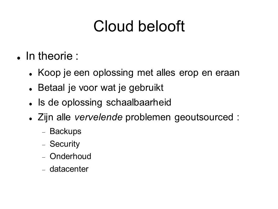 Cloud belooft In theorie : Koop je een oplossing met alles erop en eraan Betaal je voor wat je gebruikt Is de oplossing schaalbaarheid Zijn alle vervelende problemen geoutsourced :  Backups  Security  Onderhoud  datacenter