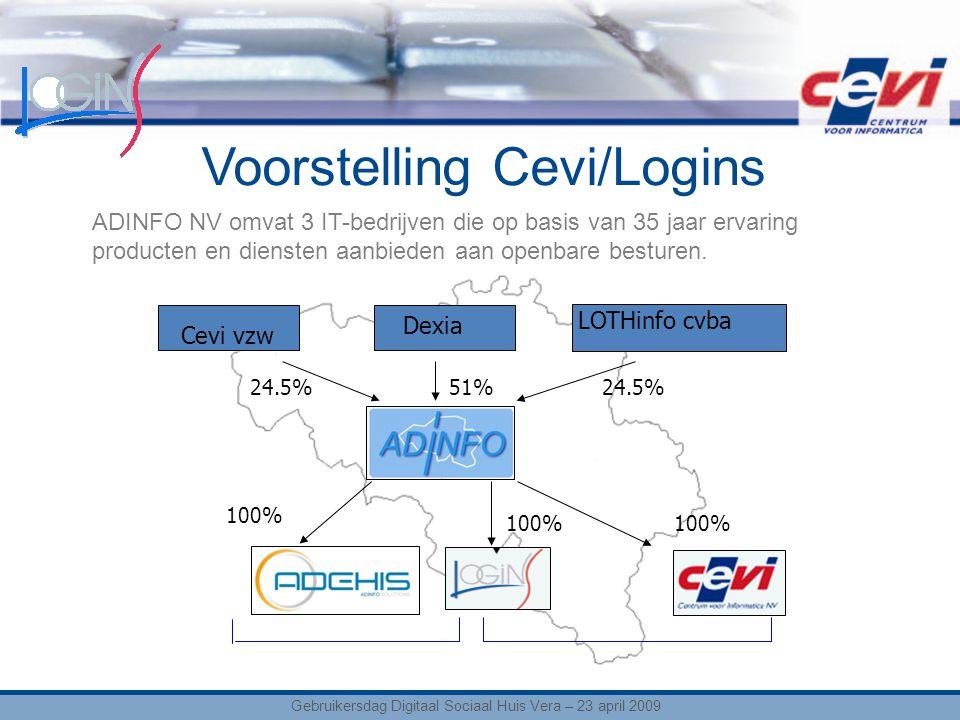 Voorstelling Cevi/Logins Cevi vzw 100% 51%24.5% Dexia LOTHinfo cvba ADINFO NV omvat 3 IT-bedrijven die op basis van 35 jaar ervaring producten en diensten aanbieden aan openbare besturen.
