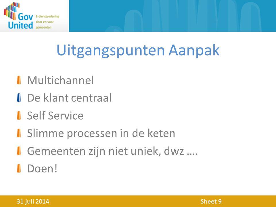 Uitgangspunten Aanpak Multichannel De klant centraal Self Service Slimme processen in de keten Gemeenten zijn niet uniek, dwz ….
