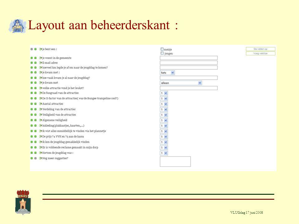 VLUGdag 17 juni 2008 Aanmaak van een formulier Via de formmanager : 1.Bepalen van de eigenschappen van het formulier 2.