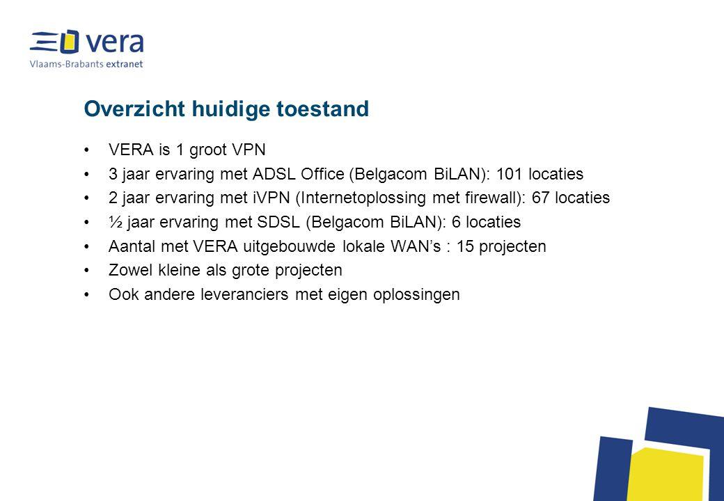 Overzicht huidige toestand VERA is 1 groot VPN 3 jaar ervaring met ADSL Office (Belgacom BiLAN): 101 locaties 2 jaar ervaring met iVPN (Internetoplossing met firewall): 67 locaties ½ jaar ervaring met SDSL (Belgacom BiLAN): 6 locaties Aantal met VERA uitgebouwde lokale WAN's : 15 projecten Zowel kleine als grote projecten Ook andere leveranciers met eigen oplossingen