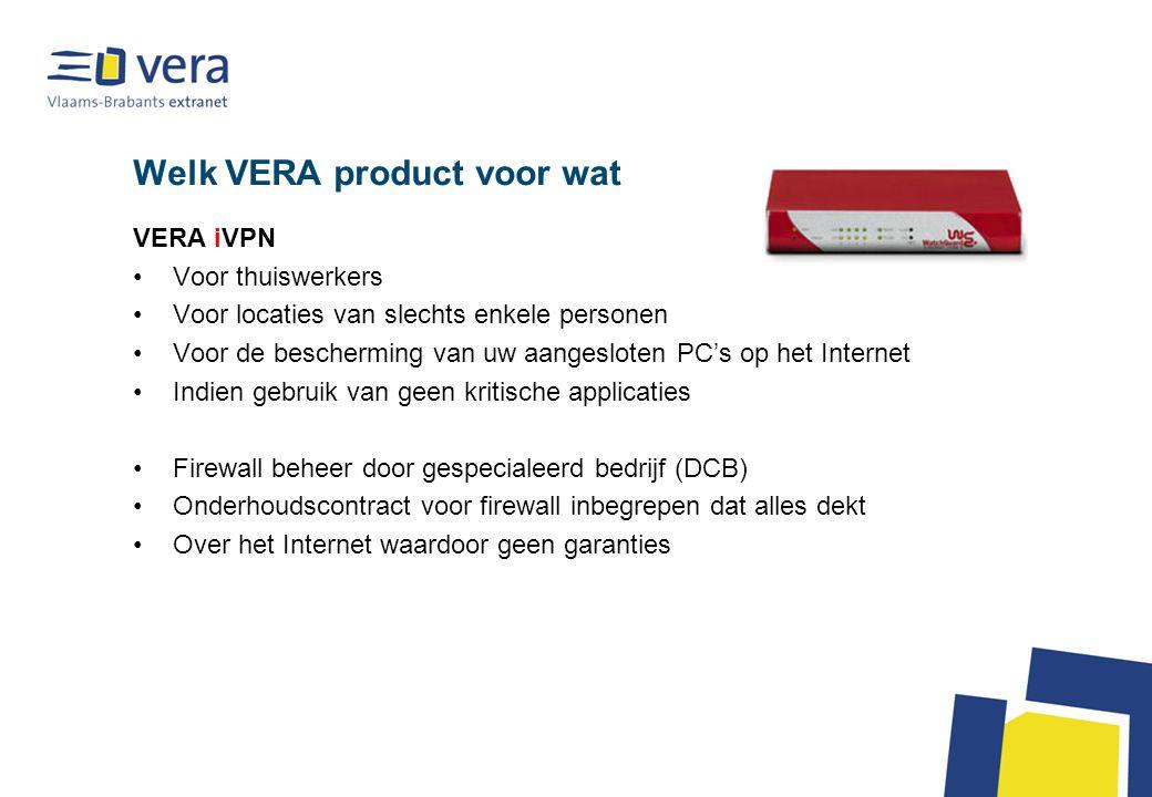 Welk VERA product voor wat VERA iVPN Voor thuiswerkers Voor locaties van slechts enkele personen Voor de bescherming van uw aangesloten PC's op het In