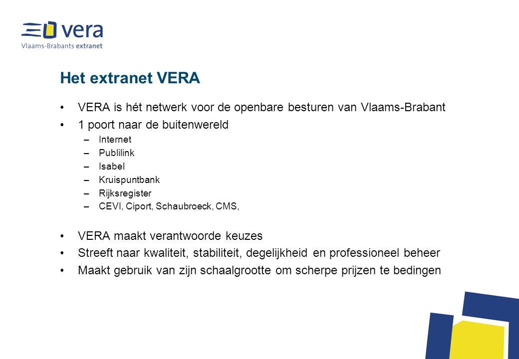 Het extranet VERA VERA is hét netwerk voor de openbare besturen van Vlaams-Brabant 1 poort naar de buitenwereld –Internet –Publilink –Isabel –Kruispun