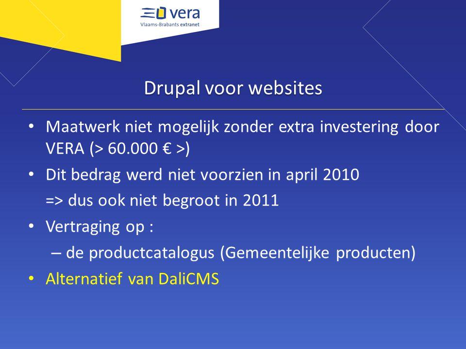 Drupal voor websites Maatwerk niet mogelijk zonder extra investering door VERA (> 60.000 € >) Dit bedrag werd niet voorzien in april 2010 => dus ook niet begroot in 2011 Vertraging op : – de productcatalogus (Gemeentelijke producten) Alternatief van DaliCMS