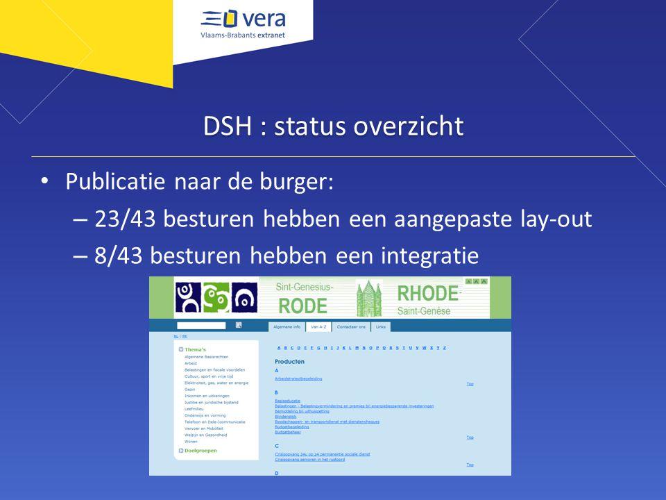 DSH : status overzicht Publicatie naar de burger: – 23/43 besturen hebben een aangepaste lay-out – 8/43 besturen hebben een integratie