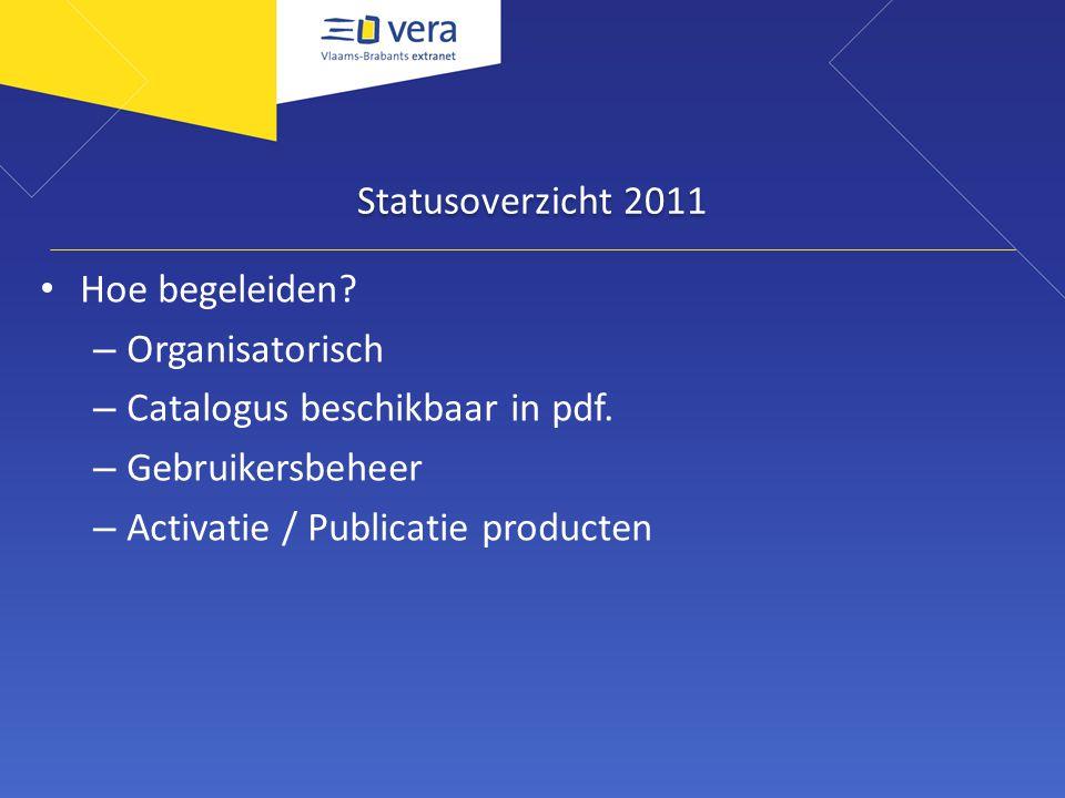 Statusoverzicht 2011 Hoe begeleiden. – Organisatorisch – Catalogus beschikbaar in pdf.