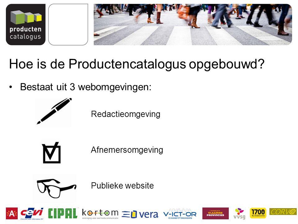 Hoe is de Productencatalogus opgebouwd? Bestaat uit 3 webomgevingen: Redactieomgeving Afnemersomgeving Publieke website