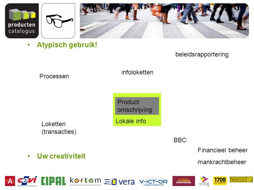 Lokale info Atypisch gebruik! Uw creativiteit Product omschrijving Processen BBC Financieel beheer mankrachtbeheer beleidsrapportering Loketten (trans