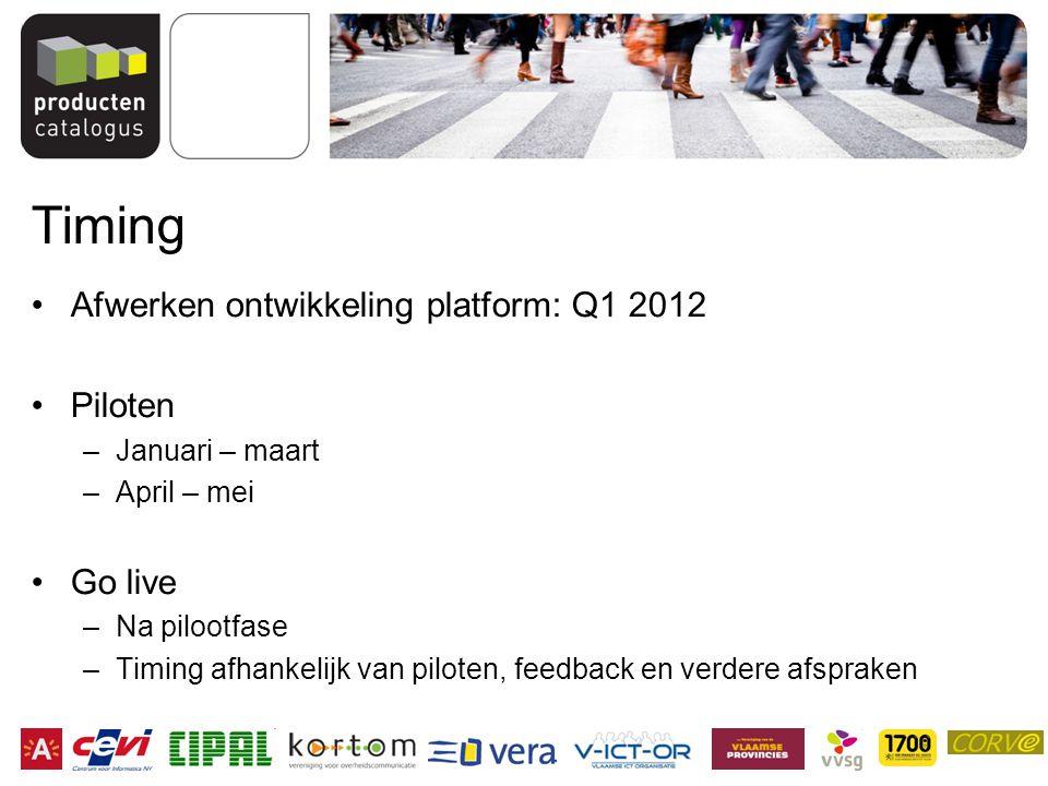 Timing Afwerken ontwikkeling platform: Q1 2012 Piloten –Januari – maart –April – mei Go live –Na pilootfase –Timing afhankelijk van piloten, feedback