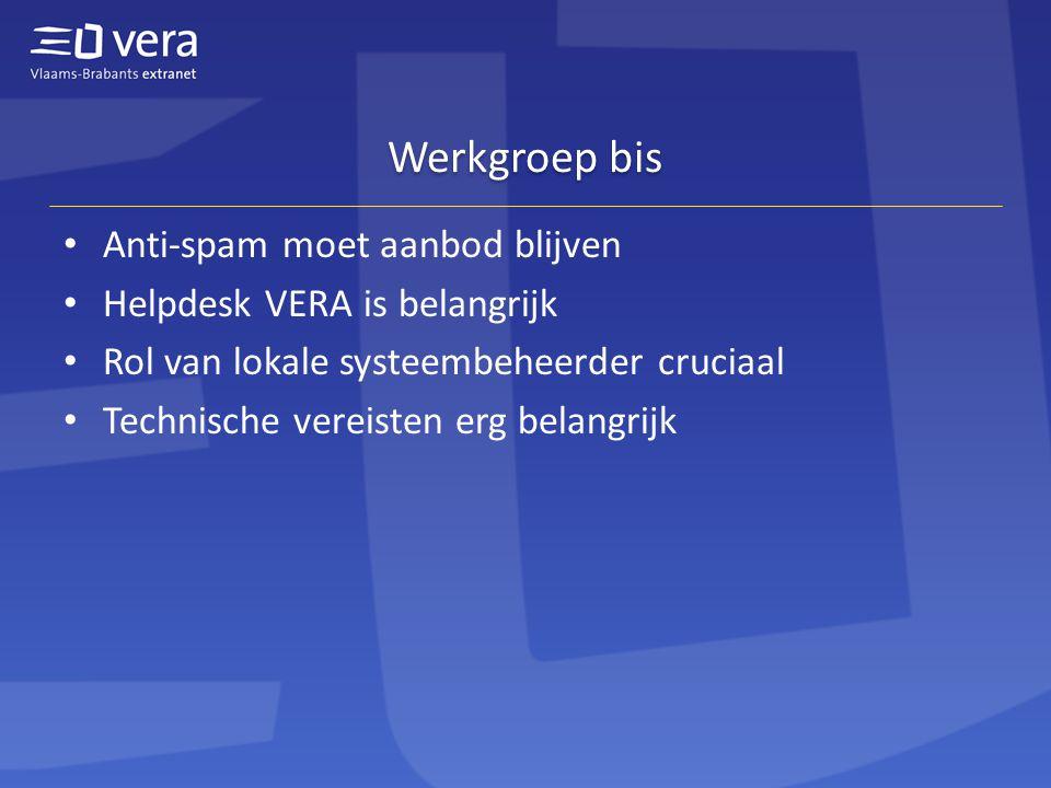 Werkgroep bis Anti-spam moet aanbod blijven Helpdesk VERA is belangrijk Rol van lokale systeembeheerder cruciaal Technische vereisten erg belangrijk