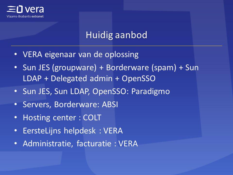 Huidig aanbod VERA eigenaar van de oplossing Sun JES (groupware) + Borderware (spam) + Sun LDAP + Delegated admin + OpenSSO Sun JES, Sun LDAP, OpenSSO: Paradigmo Servers, Borderware: ABSI Hosting center : COLT EersteLijns helpdesk : VERA Administratie, facturatie : VERA