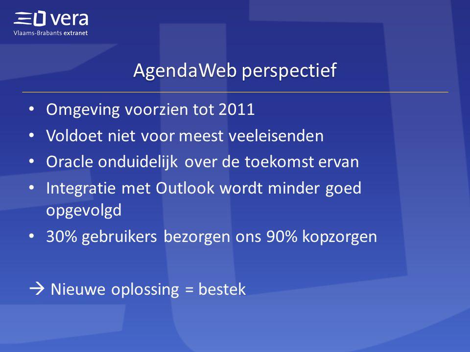 AgendaWeb perspectief Omgeving voorzien tot 2011 Voldoet niet voor meest veeleisenden Oracle onduidelijk over de toekomst ervan Integratie met Outlook wordt minder goed opgevolgd 30% gebruikers bezorgen ons 90% kopzorgen  Nieuwe oplossing = bestek