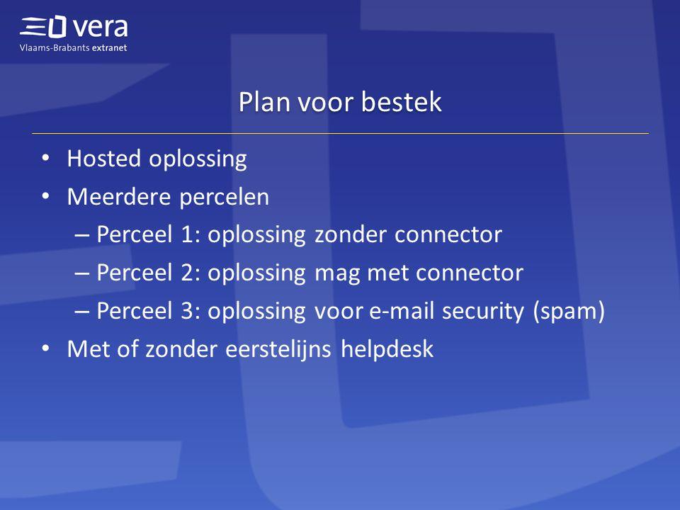Plan voor bestek Hosted oplossing Meerdere percelen – Perceel 1: oplossing zonder connector – Perceel 2: oplossing mag met connector – Perceel 3: oplossing voor e-mail security (spam) Met of zonder eerstelijns helpdesk