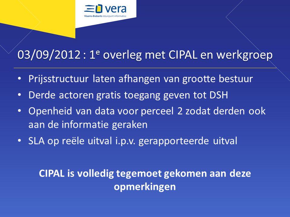03/09/2012 : 1 e overleg met CIPAL en werkgroep Prijsstructuur laten afhangen van grootte bestuur Derde actoren gratis toegang geven tot DSH Openheid van data voor perceel 2 zodat derden ook aan de informatie geraken SLA op reële uitval i.p.v.