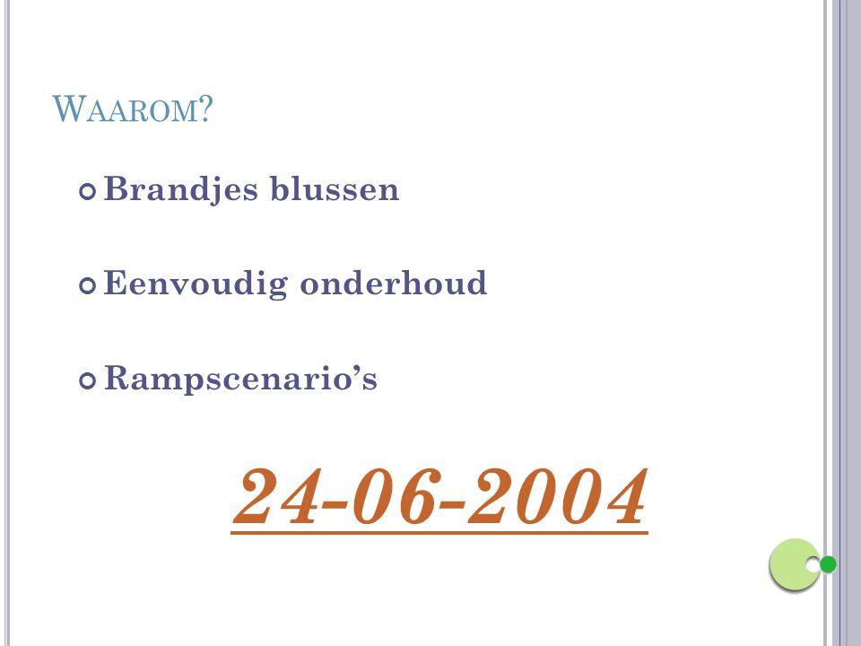W AAROM ? Brandjes blussen Eenvoudig onderhoud Rampscenario's 24-06-2004