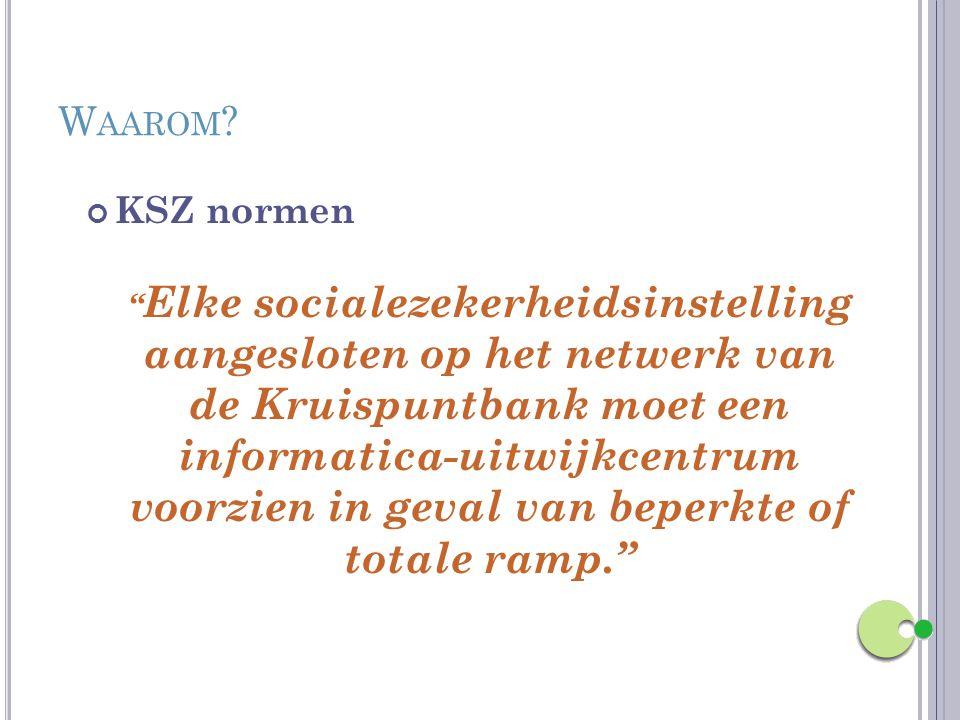 """W AAROM ? KSZ normen """" Elke socialezekerheidsinstelling aangesloten op het netwerk van de Kruispuntbank moet een informatica-uitwijkcentrum voorzien i"""