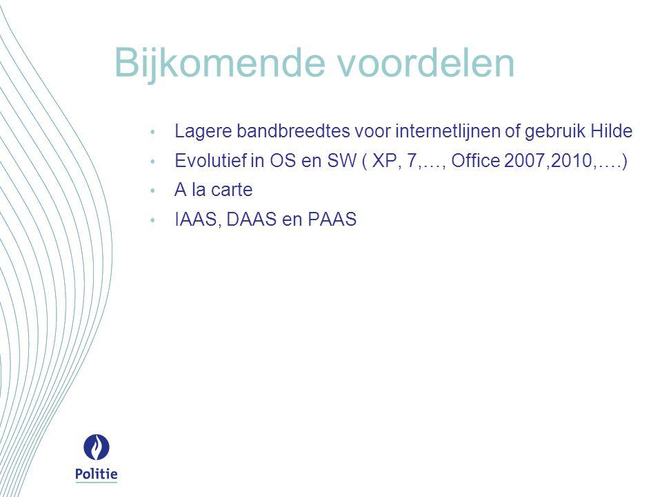 Bijkomende voordelen Lagere bandbreedtes voor internetlijnen of gebruik Hilde Evolutief in OS en SW ( XP, 7,…, Office 2007,2010,….) A la carte IAAS, DAAS en PAAS
