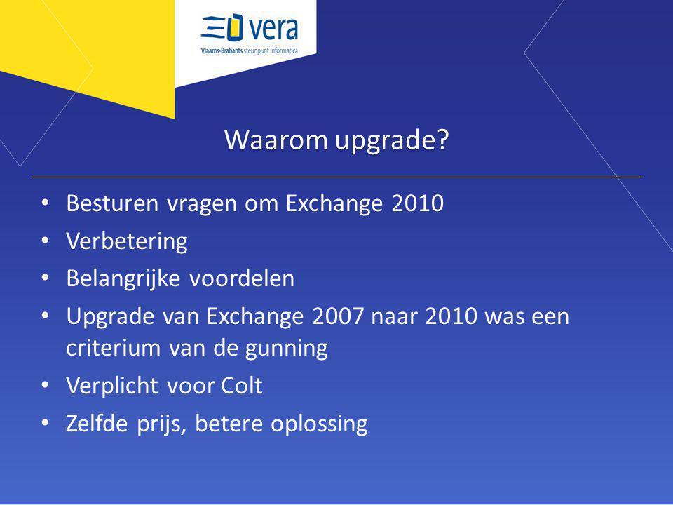 Waarom upgrade? Besturen vragen om Exchange 2010 Verbetering Belangrijke voordelen Upgrade van Exchange 2007 naar 2010 was een criterium van de gunnin
