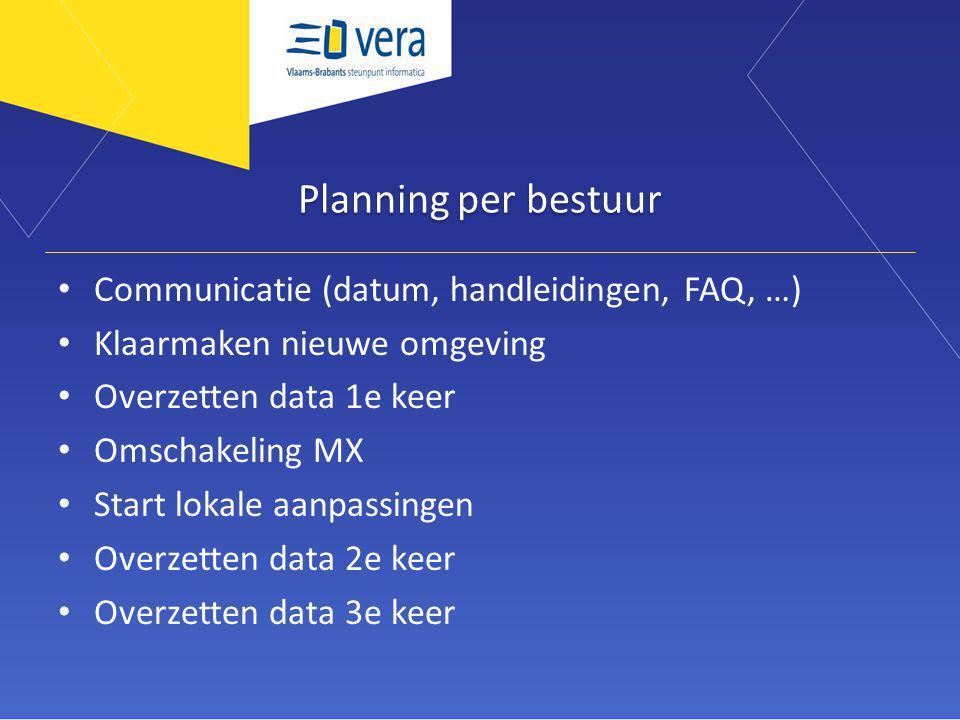 Planning per bestuur Communicatie (datum, handleidingen, FAQ, …) Klaarmaken nieuwe omgeving Overzetten data 1e keer Omschakeling MX Start lokale aanpassingen Overzetten data 2e keer Overzetten data 3e keer