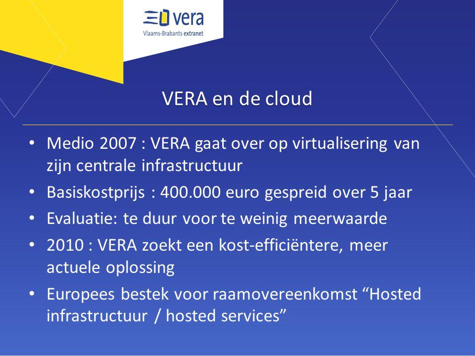 VERA en de cloud Medio 2007 : VERA gaat over op virtualisering van zijn centrale infrastructuur Basiskostprijs : 400.000 euro gespreid over 5 jaar Evaluatie: te duur voor te weinig meerwaarde 2010 : VERA zoekt een kost-efficiëntere, meer actuele oplossing Europees bestek voor raamovereenkomst Hosted infrastructuur / hosted services