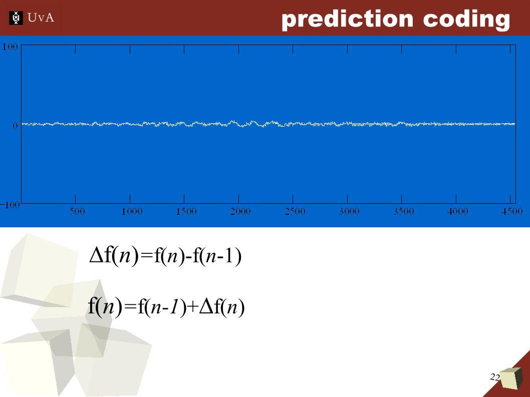 22 prediction coding  f(n) =f(n)-f(n-1) f(n) =f(n-1)+  f(n)