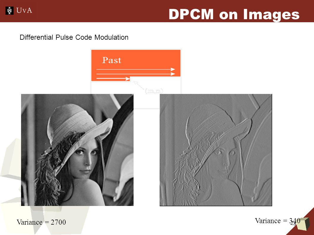 28 DPCM on Images Variance = 2700 Variance = 340 Differential Pulse Code Modulation
