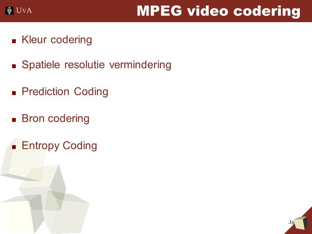 36 MPEG video codering ■ Kleur codering ■ Spatiele resolutie vermindering ■ Prediction Coding ■ Bron codering ■ Entropy Coding