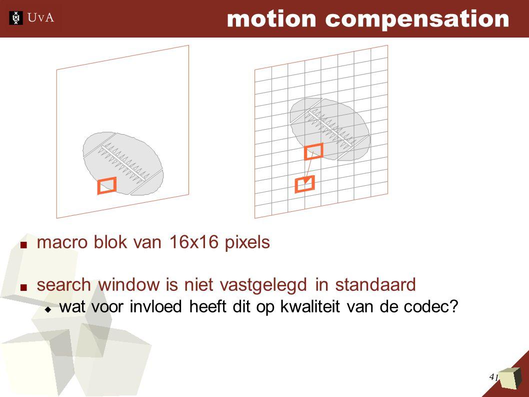 41 motion compensation ■ macro blok van 16x16 pixels ■ search window is niet vastgelegd in standaard  wat voor invloed heeft dit op kwaliteit van de