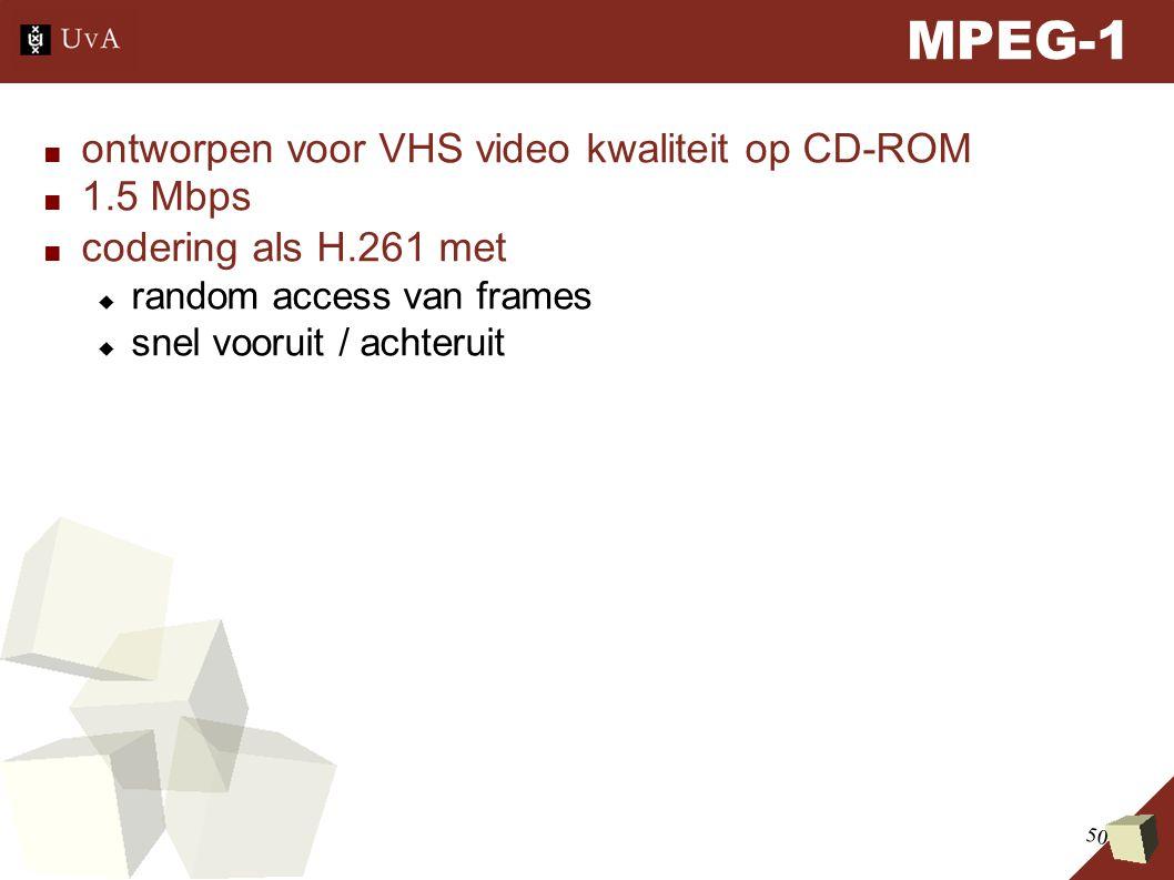 50 MPEG-1 ■ ontworpen voor VHS video kwaliteit op CD-ROM ■ 1.5 Mbps ■ codering als H.261 met  random access van frames  snel vooruit / achteruit