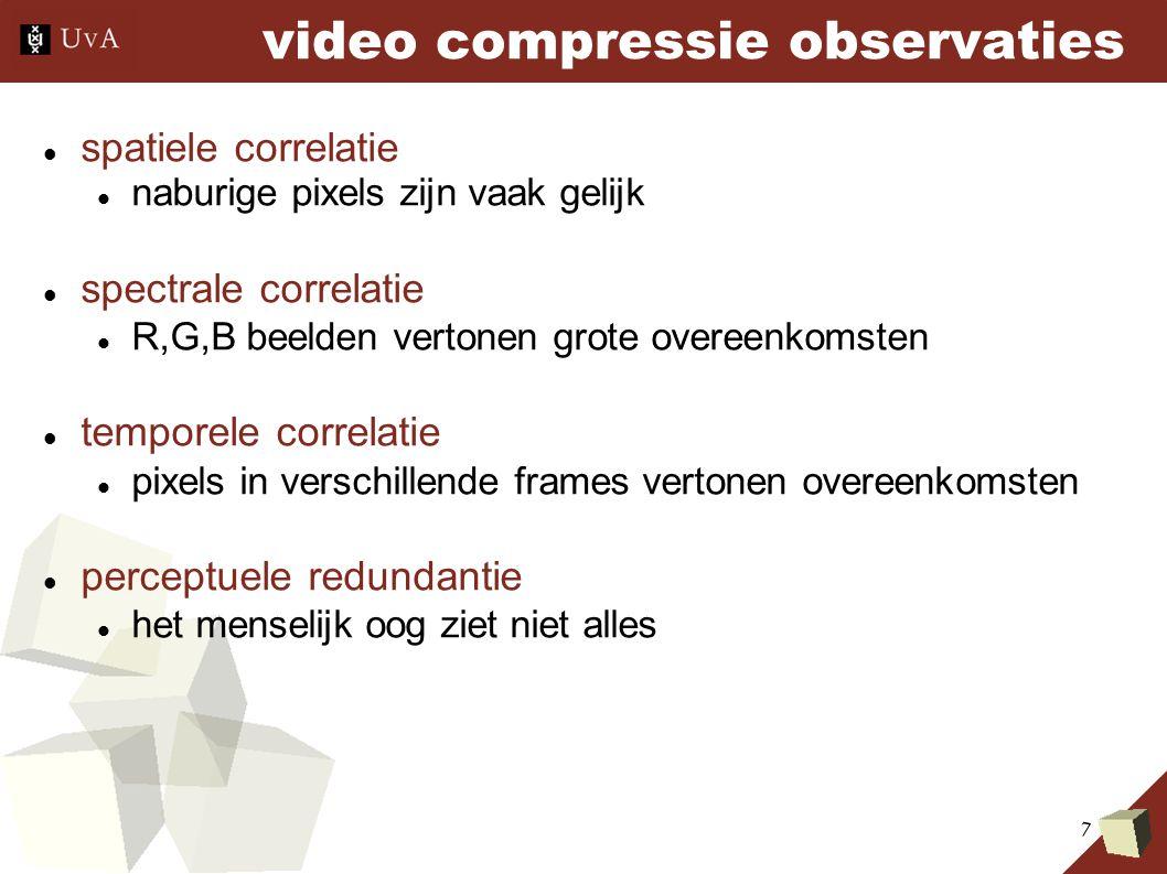 7 video compressie observaties spatiele correlatie naburige pixels zijn vaak gelijk spectrale correlatie R,G,B beelden vertonen grote overeenkomsten temporele correlatie pixels in verschillende frames vertonen overeenkomsten perceptuele redundantie het menselijk oog ziet niet alles