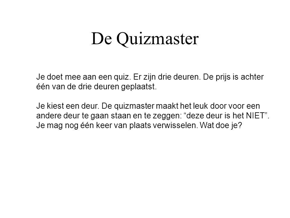 De Quizmaster Je doet mee aan een quiz. Er zijn drie deuren. De prijs is achter één van de drie deuren geplaatst. Je kiest een deur. De quizmaster maa