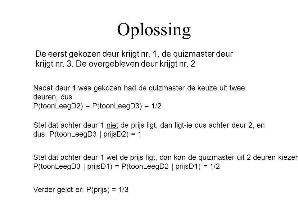 Oplossing Verder geldt er: P(prijs) = 1/3 Stel dat achter deur 1 wel de prijs ligt, dan kan de quizmaster uit 2 deuren kiezen: P(toonLeegD3 | prijsD1)