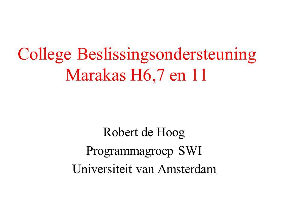 College Beslissingsondersteuning Marakas H6,7 en 11 Robert de Hoog Programmagroep SWI Universiteit van Amsterdam