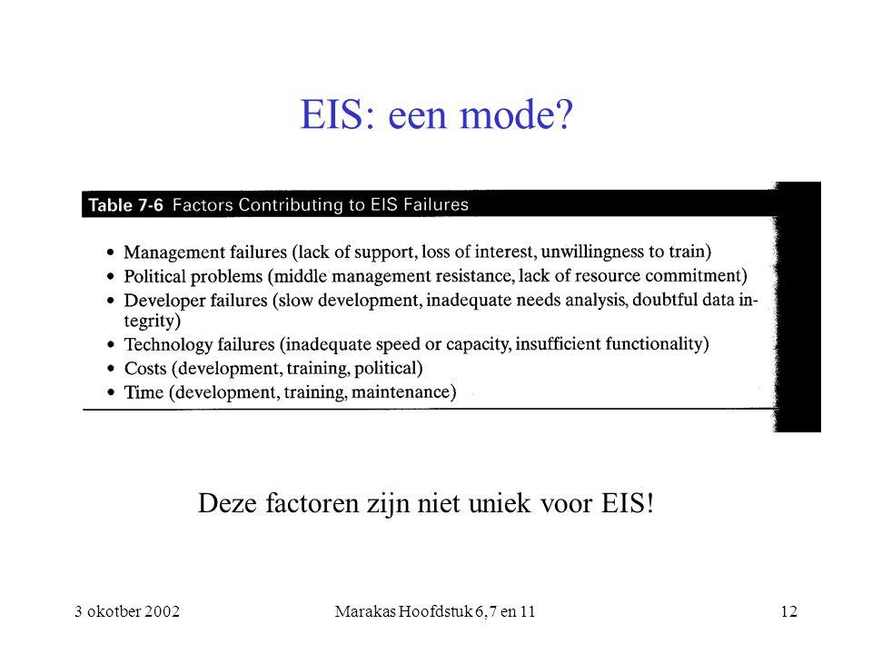 3 okotber 2002Marakas Hoofdstuk 6,7 en 1112 EIS: een mode? Deze factoren zijn niet uniek voor EIS!