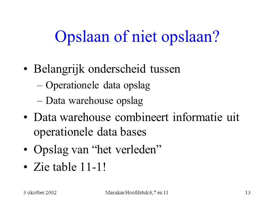 3 okotber 2002Marakas Hoofdstuk 6,7 en 1113 Opslaan of niet opslaan? Belangrijk onderscheid tussen –Operationele data opslag –Data warehouse opslag Da