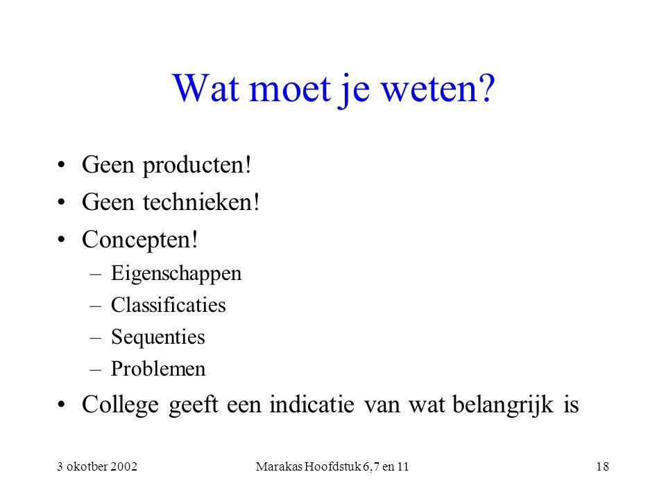 3 okotber 2002Marakas Hoofdstuk 6,7 en 1118 Wat moet je weten? Geen producten! Geen technieken! Concepten! –Eigenschappen –Classificaties –Sequenties