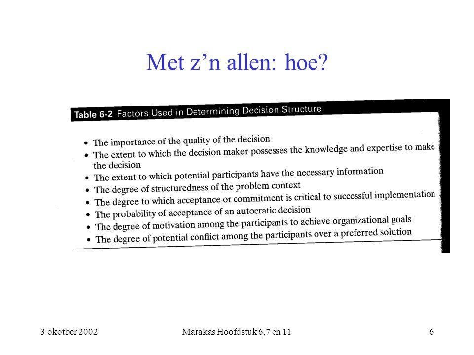 3 okotber 2002Marakas Hoofdstuk 6,7 en 117 Met z'n allen: problemen Omvang Groupthink Doelconflicten Waardeconflicten Fundamenteel theorema van Arrows!