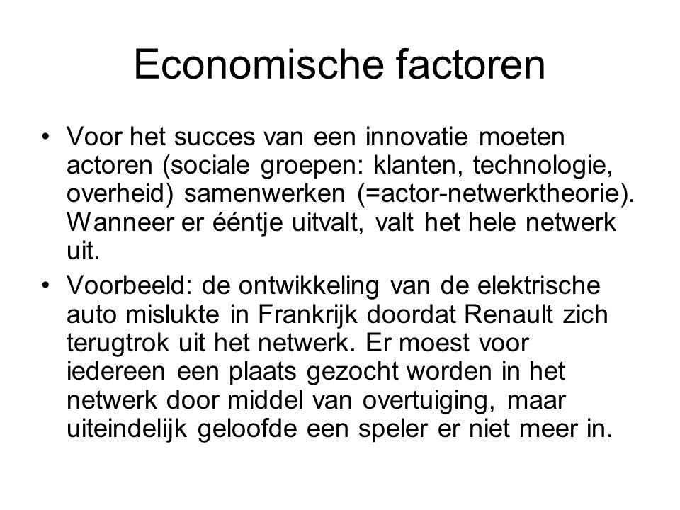 Economische factoren Voor het succes van een innovatie moeten actoren (sociale groepen: klanten, technologie, overheid) samenwerken (=actor-netwerktheorie).