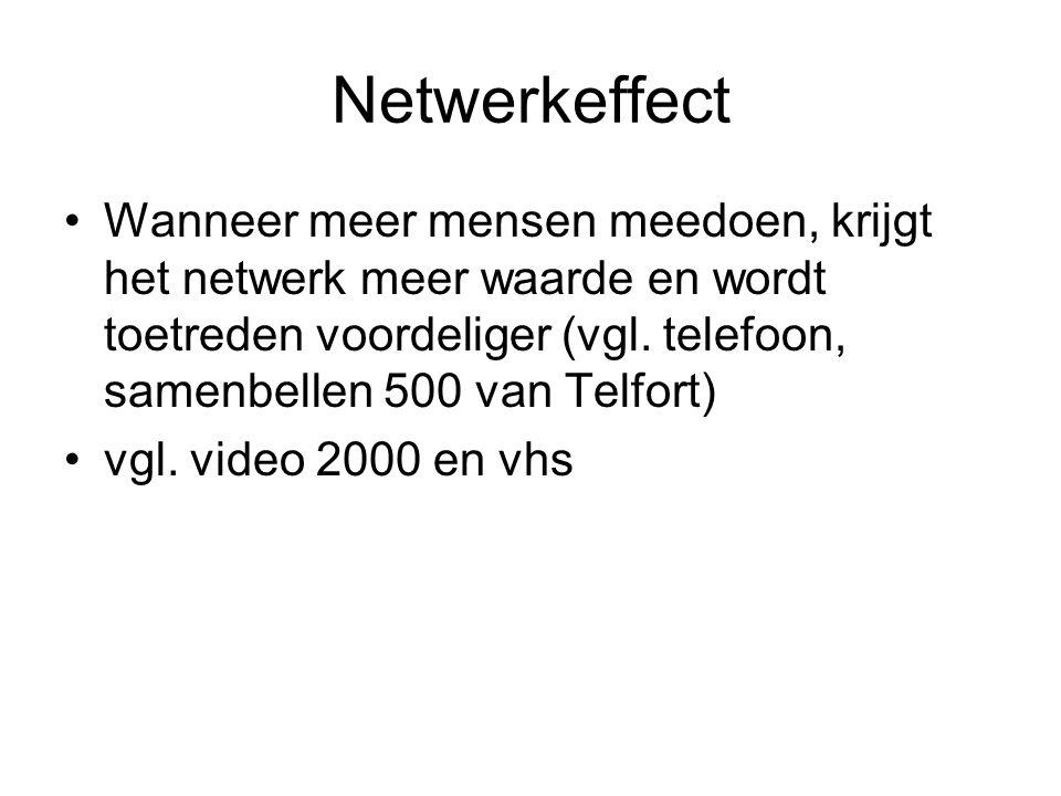 Netwerkeffect Wanneer meer mensen meedoen, krijgt het netwerk meer waarde en wordt toetreden voordeliger (vgl.