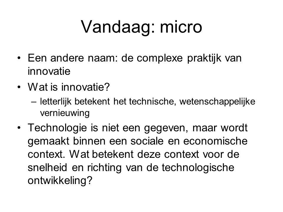 Vandaag: micro Een andere naam: de complexe praktijk van innovatie Wat is innovatie.