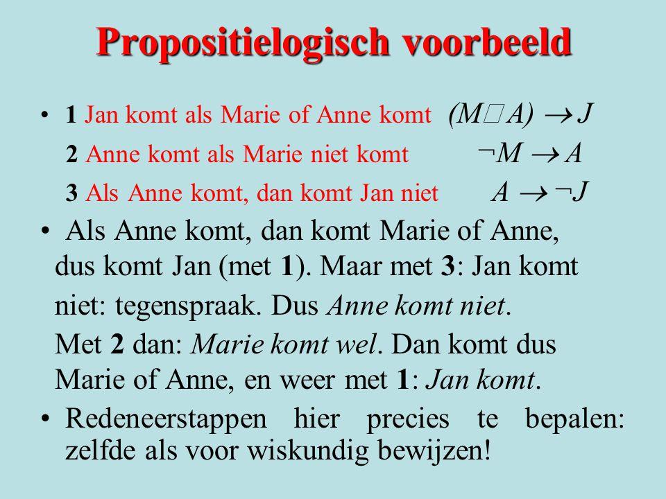 Propositielogisch voorbeeld 1 Jan komt als Marie of Anne komt (M  A)  J 2 Anne komt als Marie niet komt ¬M  A 3 Als Anne komt, dan komt Jan niet