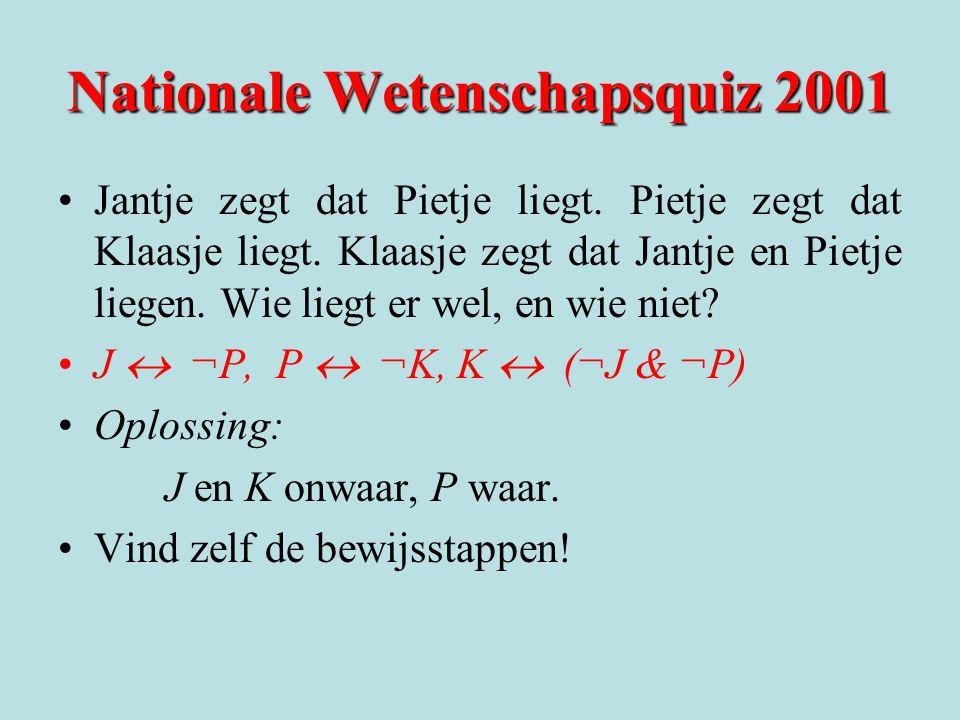 Nationale Wetenschapsquiz 2001 Jantje zegt dat Pietje liegt. Pietje zegt dat Klaasje liegt. Klaasje zegt dat Jantje en Pietje liegen. Wie liegt er wel