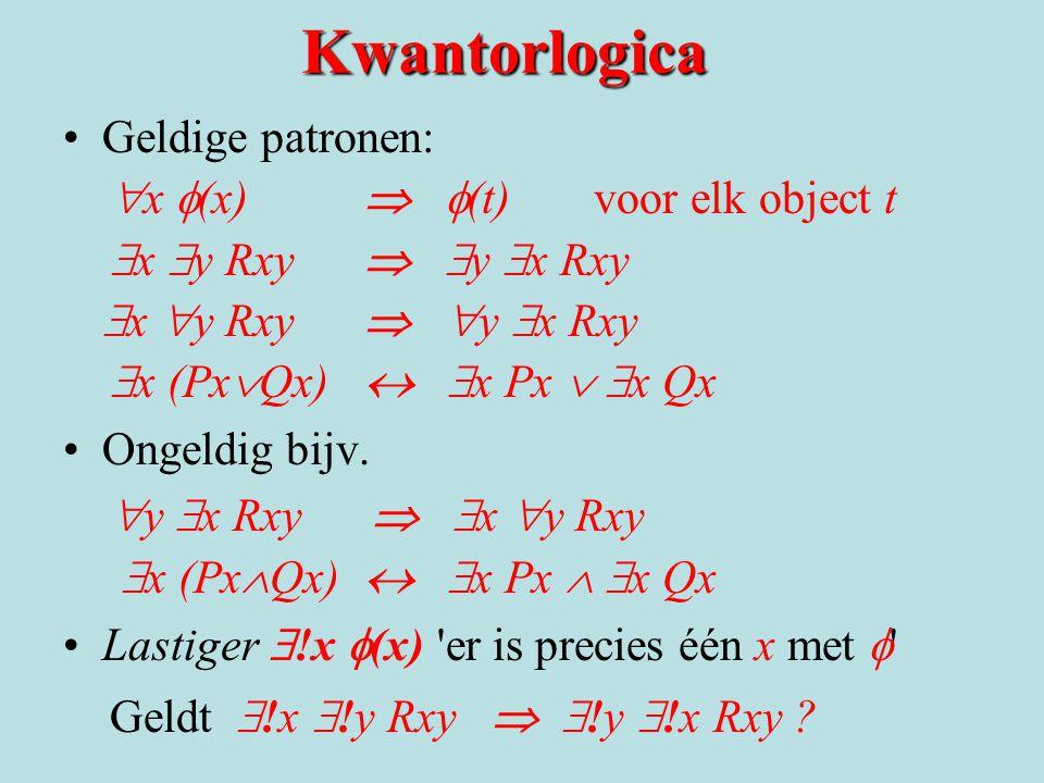 Kwantorlogica Geldige patronen:  x  (x)   (t) voor elk object t  x  y Rxy   y  x Rxy  x  y Rxy   y  x Rxy  x (Px  Qx)   x Px   x Q