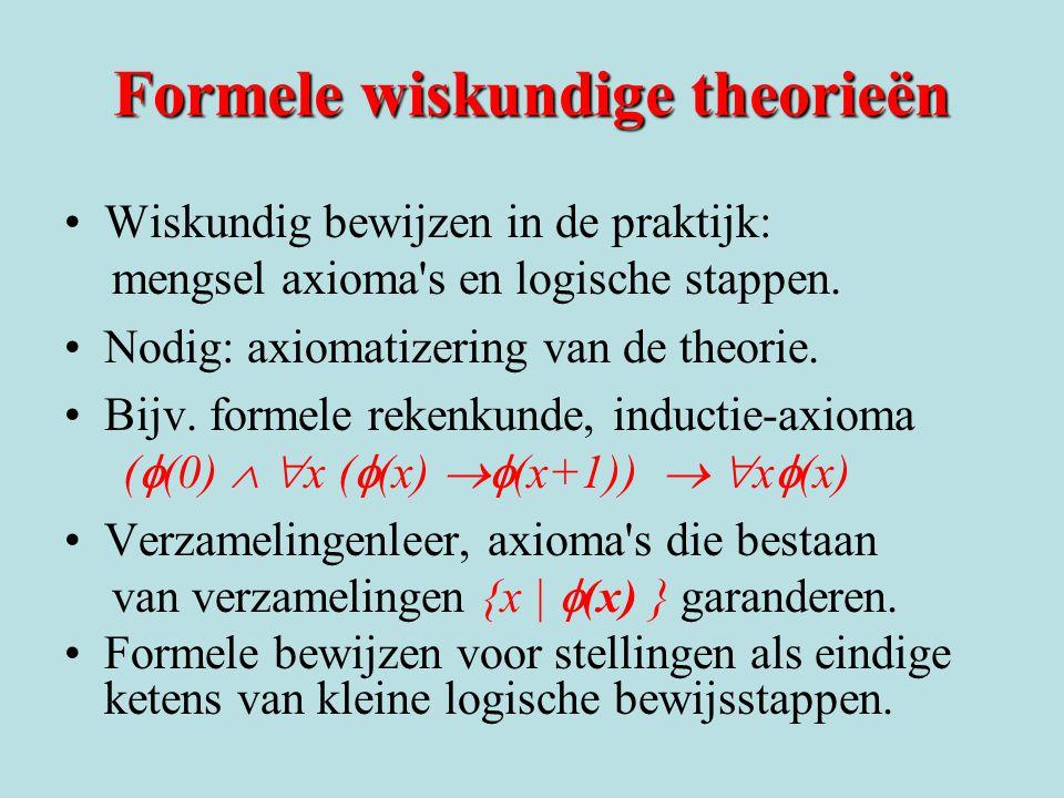 Formele wiskundige theorieën Wiskundig bewijzen in de praktijk: mengsel axioma's en logische stappen. Nodig: axiomatizering van de theorie. Bijv. form